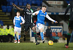 St Johnstone v Hibs…16.03.18…  McDiarmid Park    SPFL<br />George Williams and Marvin Bartley<br />Picture by Graeme Hart. <br />Copyright Perthshire Picture Agency<br />Tel: 01738 623350  Mobile: 07990 594431