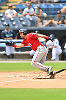 Greenville Drive Dom D'Allessandro (17) runs to first base during a game against the Asheville Tourists on July 18, 2021 at McCormick Field in Asheville, NC. (Tony Farlow/Four Seam Images)