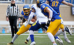 BROOKINGS, SD - MAY 8: Pierre Strong Jr. #20 of the South Dakota State Jackrabbits looks to make a move against the Delaware Fightin Blue Hens on May 8, 2021 in Brookings, South Dakota. (Photo by Dave Eggen/Inertia)