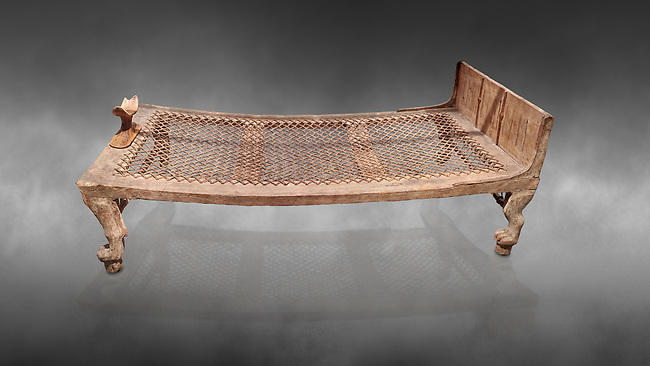 """Ancient Egyptian bed delonging to Kha , tomb of Kha, Theban Tomb 8 , mid-18th dynasty (1550 to 1292 BC), Turin Egyptian Museum. <br /> <br /> According to excavator Shciaparelli """" the beds were found in Kcha's tomb also. The larger one, his own, was found in the antechamber."""" Egyptians believed that in the Afterlife they would require the same comforts as they enjoyed in life so beds and many other worldly requirements were put into their tombs."""