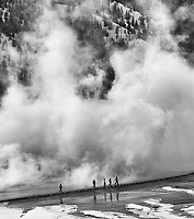 Tourists try to find Grand Prismatic Spring amidst all the steam in winter.