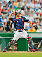 16 May 2012: Washington Nationals catcher Jesus Flores in action against the Pittsburgh Pirates at Nationals Park in Washington, DC. The Nationals defeated the Pirates 7-4 in the first game of their 2-game series. Mandatory Credit: Ed Wolfstein Photo