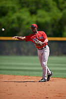 Boston Red Sox second baseman Jecorrah Arnold (17) throws to first base during a Minor League Spring Training game against the Tampa Bay Rays on March 25, 2019 at the Charlotte County Sports Complex in Port Charlotte, Florida.  (Mike Janes/Four Seam Images)