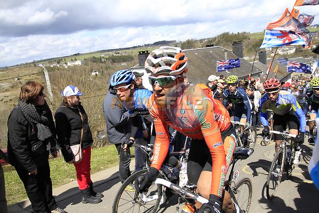 The peloton including Ruben Perez Moreno (ESP) Euskaltel-Euskadi climb Cote de Saint-Roch during the 98th edition of Liege-Bastogne-Liege, running 257.5km from Liege to Ans, Belgium. 22nd April 2012.  <br /> (Photo by Eoin Clarke/NEWSFILE).