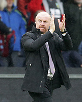 2nd October 2021;  Turf Moor, Burnley, Lancashire, England; Premier League football, Burnley versus Norwich City:  Burnley manager Sean Dyche  applauds the home supporters after the match ends goalless