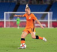 YOKOHAMA, JAPAN - JULY 30: Stefanie van der Gragt #3 of the Netherlands passes the ball during a game between Netherlands and USWNT at International Stadium Yokohama on July 30, 2021 in Yokohama, Japan.
