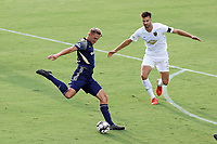 CARY, NC - AUGUST 01: Robert Kristo #11 is defended by Alex Crognale #21 during a game between Birmingham Legion FC and North Carolina FC at Sahlen's Stadium at WakeMed Soccer Park on August 01, 2020 in Cary, North Carolina.