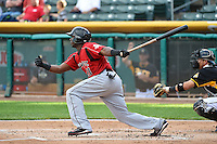 Trayvon Robinson (21) of the Albuquerque Isotopes at bat against the Salt Lake Bees at Smith's Ballpark on May 21, 2014 in Salt Lake City, Utah.  (Stephen Smith/Four Seam Images)
