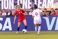 PHILADELPHIA, PA - AUGUST 29: Morgan Brian #6 of the United States tries to get past Ana Borges #9 of Portugal during a game between Portugal and the USWNT at Lincoln Financial Field on August 29, 2019 in Philadelphia, PA.