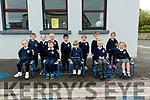 Pupils from Scoil Naomh Eirc, Baile an Mhoragh, Baile na nGall, on their first day at school: Anluan Carr, Aodhan Ó Beaglaoi, Bridgie Nic Gearailt, Cathal Hutch, Cian Ó Slattara, Erin de Mordha, Luke Mac Gearailt, Molly Nic Gearailt, Orla Ní Shé, Paidi Ó Conchúir, Róisín Ní Shé, Michael Mc Gearailt.
