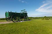 Green wagon at Wagon Hill Farm in Durham, New Hampshire USA.