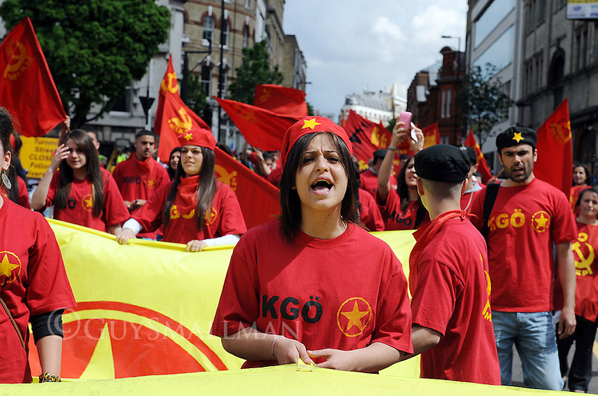 The annual Mayday parade organised by the TUC marches from Clerkenwell Green to Trafalgar Square.