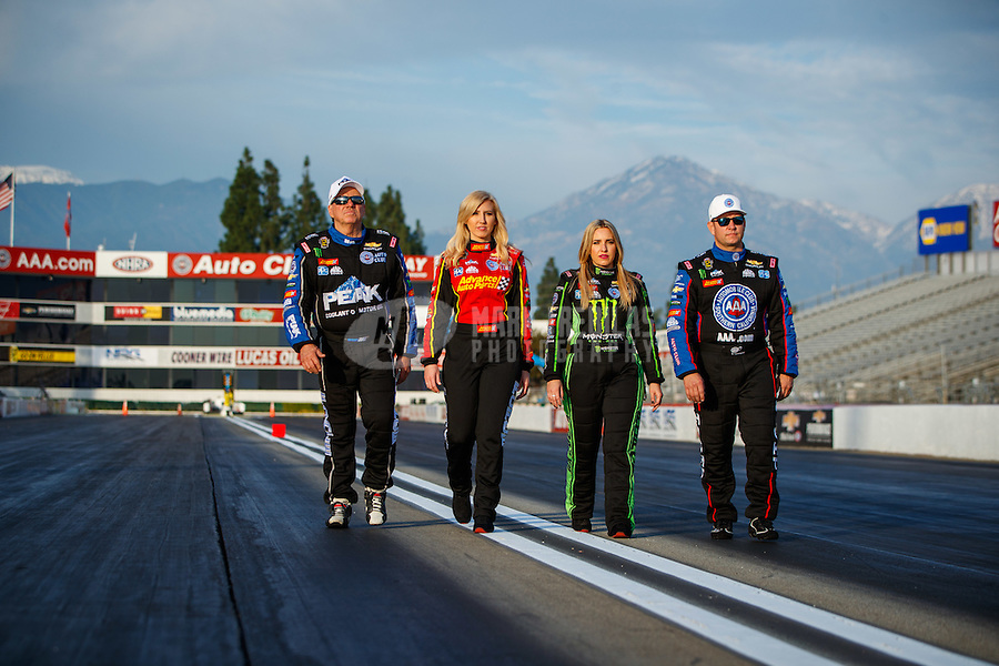 Feb 8, 2017; Pomona, CA, USA; NHRA drivers (from left) John Force , Courtney Force , Brittany Force and Robert Hight pose for a portrait during media day at Auto Club Raceway at Pomona. Mandatory Credit: Mark J. Rebilas-USA TODAY Sports