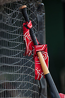 A pair of batting gloves are attached to a baseball bat outside of the of the Lakewood BlueClaws dugout prior to the game against the Kannapolis Intimidators at Kannapolis Intimidators Stadium on April 6, 2017 in Kannapolis, North Carolina.  The BlueClaws defeated the Intimidators 7-5.  (Brian Westerholt/Four Seam Images)