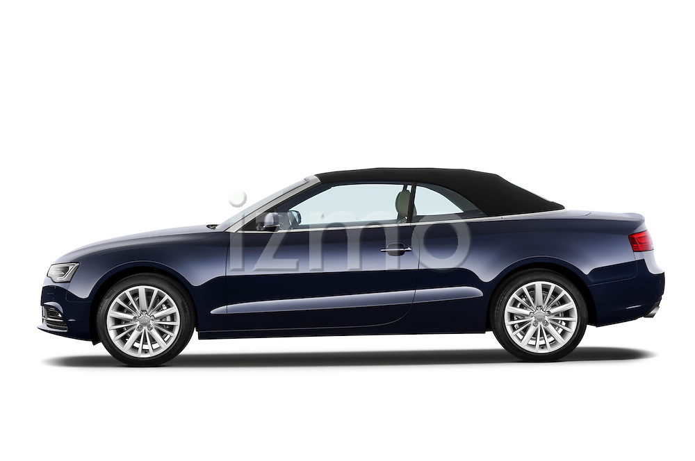 Driver side profile view of a 2013 Audi A5 Convertible with the top up..