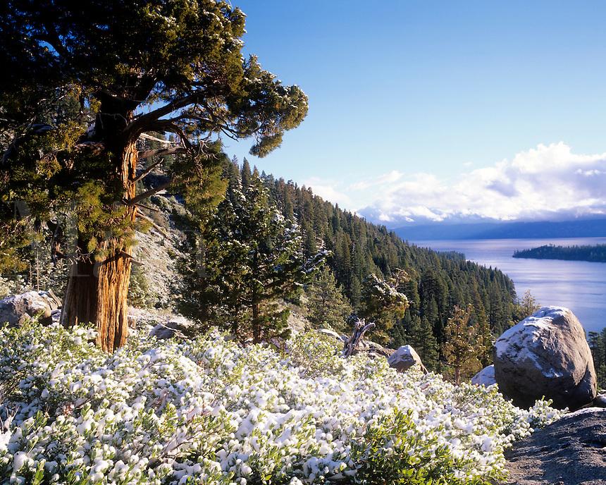 Early snowfall Emerald Bay Lake Tahoe, California