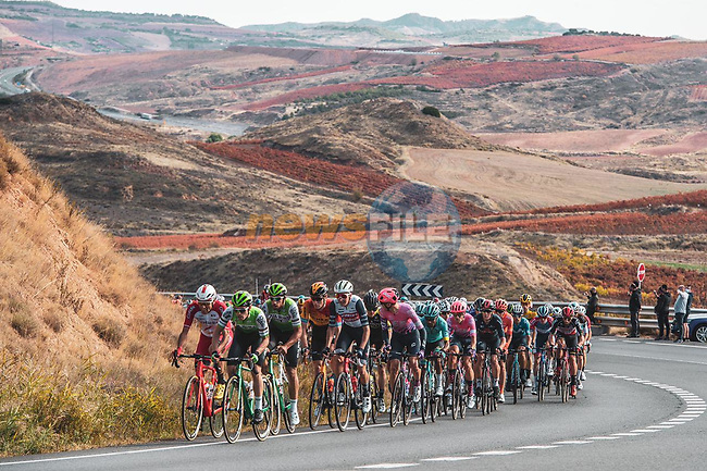 The peloton during Stage 8 of the Vuelta Espana 2020 running 160km from Logroño to Alto de Moncalvillo, Spain. 28th October 2020.   <br /> Picture: Unipublic/Charly Lopez | Cyclefile<br /> <br /> All photos usage must carry mandatory copyright credit (© Cyclefile | Unipublic/Charly Lopez)
