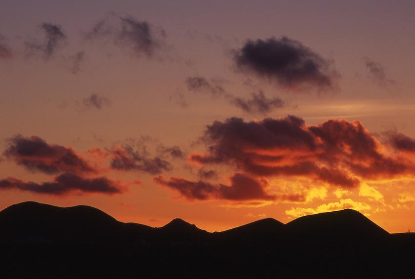 Afrika, ESP, Spain, Canary Islands, Lanzarote, Clouds, Sunset, Volcanic Landscape