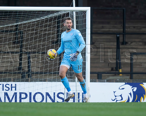 21st November 2020; Somerset Park, Ayr, South Ayrshire, Scotland; Scottish Championship Football, Ayr United versus Dundee FC; Dundee goalkeeper Adam Legzdins looks for an outlet