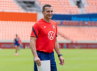 HOUSTON, TX - JUNE 9: Vlatko Andonovski of the USWNT watches his team during a training session at BBVA Stadium on June 9, 2021 in Houston, Texas.