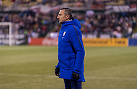 COLUMBUS, OH - NOVEMBER 07: Vlatko Andonovski of the United States watches his team during a game between Sweden and USWNT at Mapfre Stadium on November 07, 2019 in Columbus, Ohio.