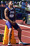 12 JUNE 2015: Cameron Echols-Luper of TCU waits for the start of the Men's 4X100 meters  during the Division I Men's and Women's Outdoor Track & Field Championship held at Hayward Field in Eugene, OR.  Steve Dykes/ NCAA Photos