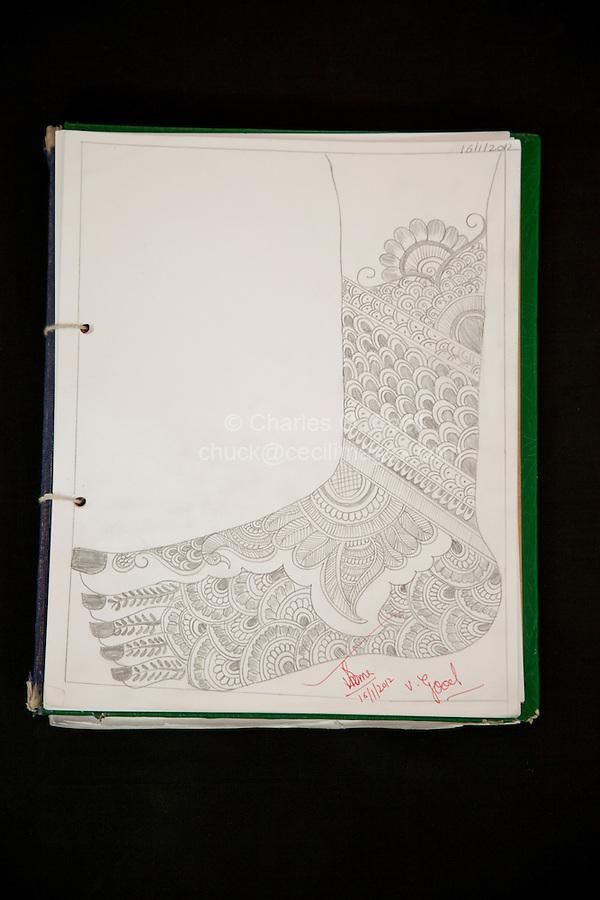 Design for Henna Tattoo in Student's Notebook, Dehradun, India.