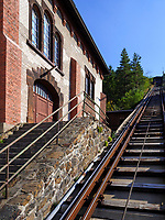 Kraftzentrale und Schrägaufzug, Rammelsberg, Museum und Besucherbergwerk, Goslar, Niedersachsen, Deutschland, Europa, UNESCO-Weltkulturerbe<br /> power house and inclined lift, Rammelsberg - Museum and show mine, Goslar, Lower Saxony,, Germany, Europe, UNESCO Heritage Site