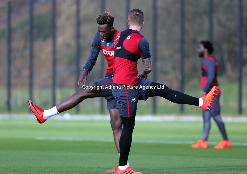 Alfie Mawson (R) and Tammy Abraham in action during the Swansea City Training at The Fairwood Training Ground, Swansea, Wales, UK. Wednesday 01 November 2017