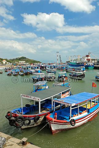 Asia, Vietnam, Nha Trang. Cau Da the harbour 3km south of downtown of Nha Trang. Cau Da is the main pier for ferries and pleasure boat trips to the islands.