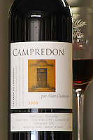 Campredon 2005. 36% Syrah, 28% Mourvedre, 26% Grenache, 10% Carignan. Domaine Alain Chabanon, previously Font Caude, in the Lagamas village. Montpeyroux. Languedoc. France. Europe. Bottle.