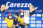 FIS Snowboard World Cup - Covid-19 Outbreak  Parallel Slalom Finals event on 17/12/2020 in Carezza, Italy. In action at the podium the leaders Ramona Theresia Hofmeister (GER) and Benjamin Karl (AUT)