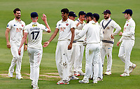 Jas Singh making his debut for Kent is congratulated by Nathan Gilchrist after taking the wicket of Oli Carter during Kent CCC vs Sussex CCC, LV Insurance County Championship Group 3 Cricket at The Spitfire Ground on 11th July 2021