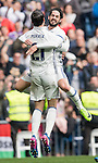Isco Alarcon of Real Madrid celebrates with teammates Alvaro Morata and Lucas Vazquez during the match Real Madrid vs RCD Espanyol, a La Liga match at the Santiago Bernabeu Stadium on 18 February 2017 in Madrid, Spain. Photo by Diego Gonzalez Souto / Power Sport Images
