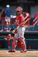 Harrisburg Senators catcher Pedro Severino (4) during a game against the Erie Seawolves on August 30, 2015 at Jerry Uht Park in Erie, Pennsylvania.  Harrisburg defeated Erie 4-3.  (Mike Janes/Four Seam Images)