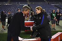 San Diego, CA - Sunday January 21, 2018: Lars Søndergaard, Jill Ellis prior to an international friendly between the women's national teams of the United States (USA) and Denmark (DEN) at SDCCU Stadium.