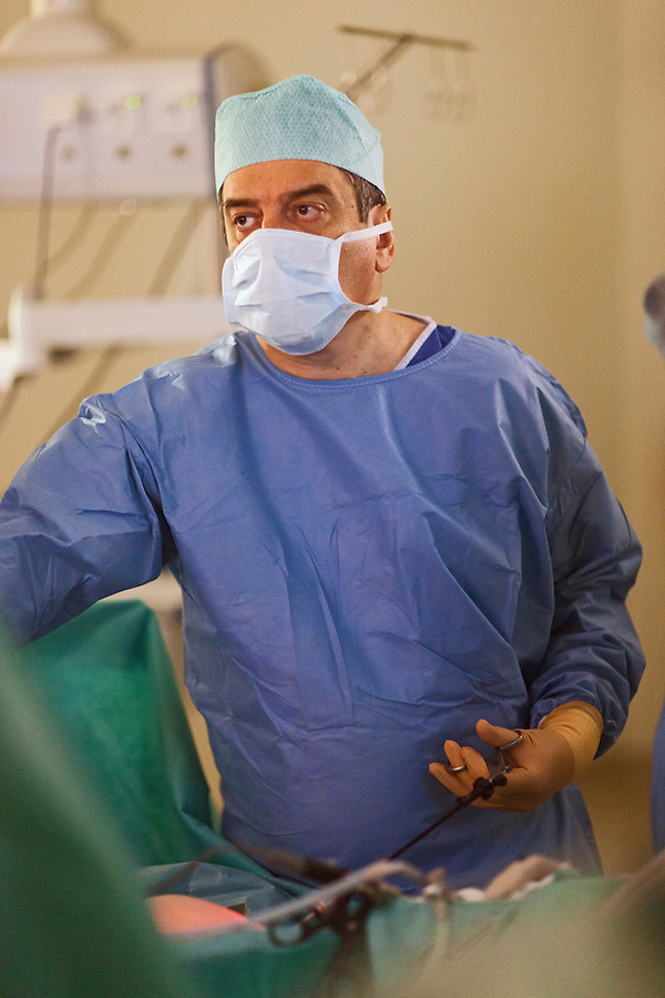 Lapino, Russia, 29/03/2013..Russia's newest billionaire Dr Mark Kurtser in surgery at his new hospital in the town of Lapino in Moscow Region..