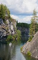 "Walk on Marble lake. Mountain Park ""Ruskeala"""