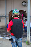 DEL MAR,CA-AUGUST 19: Victor Espinoza observes California Chrome at Del Mar Race Track on August 17,2016 in Del Mar,California (Photo by Kaz Ishida/Eclipse Sportswire/Getty Images)