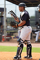 FCL Yankees catcher Agustin Ramirez (38) during a game against the FCL Tigers East on July 27, 2021 at the Yankees Minor League Complex in Tampa, Florida. (Mike Janes/Four Seam Images)