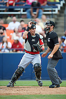 Carolina Mudcats catcher Joseph Odom (6) looks for a passed ball in front of umpire Chris Marco during a game against the Frederick Keys on June 4, 2016 at Nymeo Field at Harry Grove Stadium in Frederick, Maryland.  Frederick defeated Carolina 5-4 in eleven innings.  (Mike Janes/Four Seam Images)