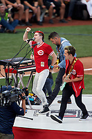 Cincinnati, Ohio based Walk the Moon - Nicholas Petricca (left), Eli Maiman (center), and Kevin Ray (right) - perform before the MLB Home Run Derby on July 13, 2015 at Great American Ball Park in Cincinnati, Ohio.  (Mike Janes/Four Seam Images)