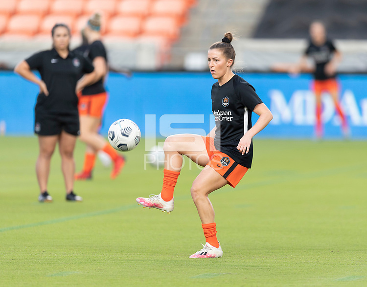 HOUSTON, TX - SEPTEMBER 10: Haley Hanson #9 of the Houston Dash warming up before a game between Chicago Red Stars and Houston Dash at BBVA Stadium on September 10, 2021 in Houston, Texas.