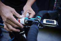 stage profiles mounted on the bike stems before the race<br /> <br /> stage 16: Luarca - Ermita de Alba<br /> 2015 Vuelta à Espagna