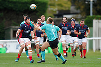Mat Eliet of London Scottish closes down Jamie Jack of Nottingham Rugby during the Championship Cup match between London Scottish Football Club and Nottingham Rugby at Richmond Athletic Ground, Richmond, United Kingdom on 28 September 2019. Photo by Carlton Myrie / PRiME Media Images