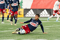 FOXBOROUGH, MA - OCTOBER 16: Nicolas Firmino #29 of New England Revolution II comes in to intercept the ball during a game between North Texas SC and New England Revolution II at Gillette Stadium on October 16, 2020 in Foxborough, Massachusetts.