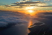 Sunrise on Columbia River Gorge
