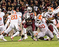 The tenth ranked South Carolina Gamecocks host the 6th ranked Clemson Tigers at Williams-Brice Stadium in Columbia, South Carolina.  USC won 31-17 for their fifth straight win over Clemson.  South Carolina Gamecocks wide receiver Pharoh Cooper (11)