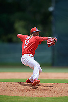 GCL Phillies West pitcher Jaylen Smith (12) during a Gulf Coast League game against the GCL Tigers West on July 27, 2019 at the Carpenter Complex in Clearwater, Florida.  (Mike Janes/Four Seam Images)