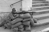 - Franco-German bilateral military exercise in Bavaria, German soldier guard the entrance to a village, September 1987<br /> <br /> - Esercitazione militare bilaterale franco-tedesca in Baviera, militare tedesco presidia l'ingresso di un villaggio, Settembre 1987